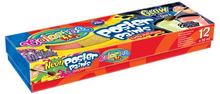 Farby plakatowe 12 kolorów 20ml mix Colorino Kids
