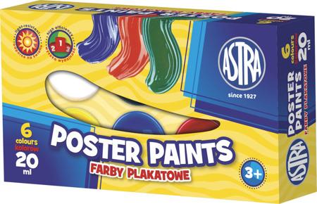 Farby plakatowe 6 kolorów 20ml Astra