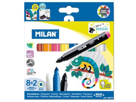 Flamastry zmieniające kolor 8 kolorów + 2szt Milan